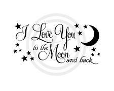 I Love You To The Moon & Back with Stars Wall Art Vinyl Decal Black (#102)