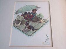 VTG Norman Rockwell Picture Fisherman's Paradise Boys Fishing Trip Umbrella Dog