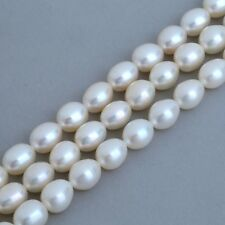 7-8mm Ivory White Rice Oval Teardrop Freshwater Pearls Beads AA