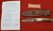 """Randall Model 8-4 Bird & Trout Knife With Sheath Stag 4"""" Blade Paperwork Stone"""