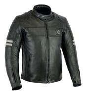 Rksports Speed 5 Mens Retro Leather Motorcycle  Jacket with Armour