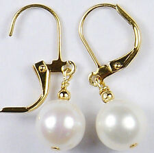 ROUND 10-11mm AAA+++ WHITE AKOYA PEARL EARRINGS 14KG GOLD MARKED