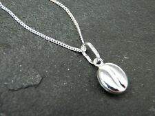 Sterling Silver Coffee Bean Charm  / Pendant on 18inch Silver 925 Curb Chain