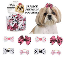 56pc PREMIUM POLKA DOT Stripe GROSGRAIN RIBBON BOWS w/Band DOG Grooming Top Knot