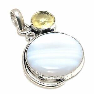 "Blue Lace Agate, Citrine Gemstone  925 Silver Plated Jewelry Pendant 1.58"" qqq21"