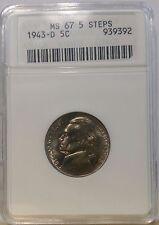 1943-D 5C  Jefferson Nickel ANACS MS 67 5 STEPS