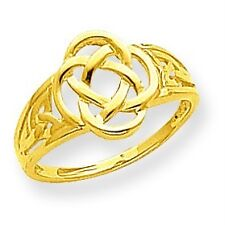 14K Yellow Gold Polished & Casted Christianity Celtic Knot Ladies Ring Size 6