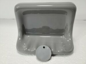 Suede Gray Grey Ceramic Soap Dish Tray Tub Silver Daltile 0182 Classic Color 302