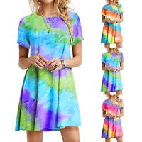 ❤️Women Tie Dye Short Sleeve Short Mini Dress Summer Beach Casual Loose Sundress
