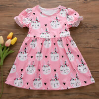 Toddler Kids Baby Dress Girls Summer Bunny Princess Dress Clothes Outfits AU