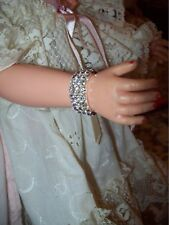 NWOT   Silver Rhinestone 3 Row Stretch Fashion Doll Bracelet