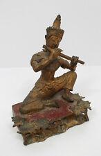 Asiatika Tempel Musiker Skulptur Querflöte Bronze Buddha ? Priester  Indien ?