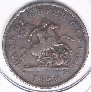 1850 Bank of Upper Canada One Penny Bank Token 245I