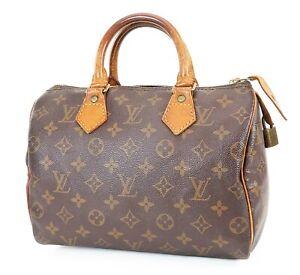 Authentic LOUIS VUITTON Speedy 25 Monogram Boston Handbag Purse #38446