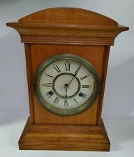 Antique Welch Clock Company Glass Front Cathedral Oak Mantle w/ Key & Pendelum