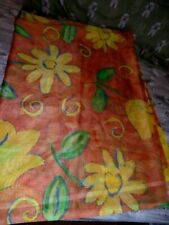 2 Handmade Orange Floral Patterned Net Curtains