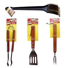 4PC BBQ BARBECUE SPATOLA FORCHETTA Pinza e Spazzola per pulizia strumento set utensile da OTL