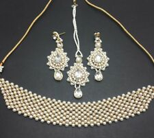 Chokar bollywood necklace set costume jewellery gold with pearls