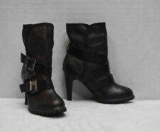 B5 NEW ASH Black Soft Leather Buckle Straps Heels Ankle Boots Shoes Size 38