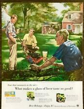 1955 US Brewers Fdn Beer PRINT AD Fred Siebel Art Showing Off New Power Mower