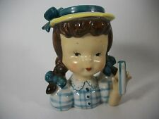 Vintage Head Vase Napco Umbrella Girl Brown Hair No Umbrella
