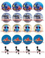 20 Edible Pre-cut Circle Wafer Finding Nemo/Finding Dory & Squirt Cupcake Topper