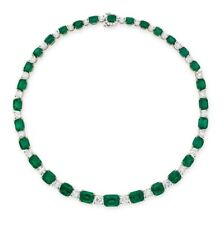 200Ct Octagonal Cut Emerald Simlnt Diamond Choker Necklace White Gold Fns Silver