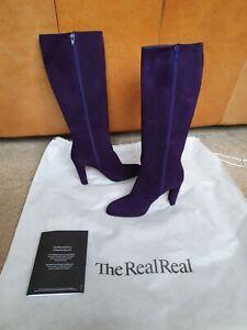 GORGEOUS Purple Suede Stuart Weitzman Knee Boots US 5.5 (EU 36) with zip
