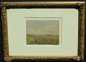 Illegibly Signed OLD Antique 1863 French Impressionist Landscape W/C Painting NR