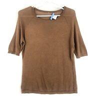 White + Warren Silk Cotton Blend Sweater Womens M Short Sleeve Crew Neck Brown