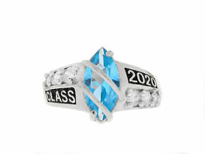 10k or 14k White Gold Simulated Blue Zircon December Birthstone 2021 Class Ring