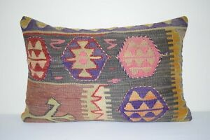 16'' X 24''  Pink Color Handwoven Vintage Long and Large Kilim Lumbar Pillow