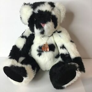 "Vermont Teddy Bear Company 17"" Holstein Cow Print Jointed Bear with Cow Bell"