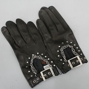 Sermoneta Gloves Black Soft Leather Driving Gloves with Chain Accent Size M