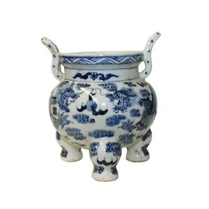 Blue White Oriental Dragon Ding Shape Incense Holder Porcelain Pot ws1300