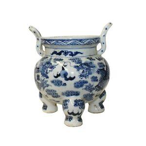 Blue White Oriental Dragon Ding Shape Incense Holder Porcelain Pot ws1300