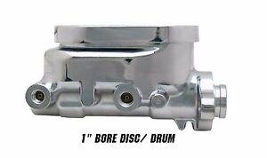 "Aluminum Chrome Flat Top Master Cylinder, 1"" inch bore Disc/Drum"
