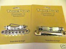 TONEPROS LPCM02/CH LOCKING TUNEOMATIC BRIDGE & TAILPIECE SET CHROME EPIPHONE
