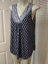MAX STUDIO PATTERN MIXED FLORAL BANDED BLUE ART SPOTS JERSEY SLEEVELESS TOP L XL