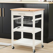 Small Multi Tier Rolling Storage Kitchen Trolley Cart Rack Shelving Drawer Wood