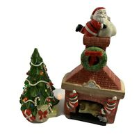 Dept 56  Santa Going Down Chimney/Fireplace and Lighted Tree Ceramic Christmas