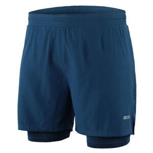 Men 2 in 1 Running Shorts Quick Drying Breathable Active Training Exercise K5S8