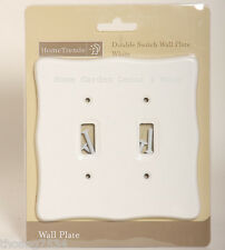 White Plastic Scallop Double Light Switch Wallplate Wall Plate Outlet Cover