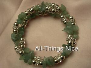 GREEN JADE Gemstone Crystal Bangle Wrap Bracelet Jewellery for Luck & Protection