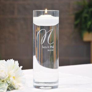 Wedding Unity Floating Candle Personalized Memorial Cylinder vase