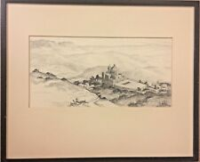 Antique Gerry Peirce Pencil Drawing 15 X 11