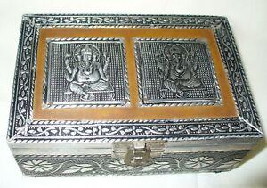 Vintage Silver Metal Ornate Trinket Box Ganesh Decor