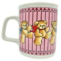 Enesco Lucy And Me Coffee Mug Vintage 1985 Lucy Rigg Marching Teddy Bears Pink