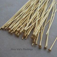 50 headpins gold plated 4 inch 21 gauge