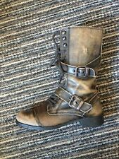RIVER ISLAND DISTRESSED LOOK KHAKI LEATHER LACE UP MILITARY STYLE BOOTS  UK 5